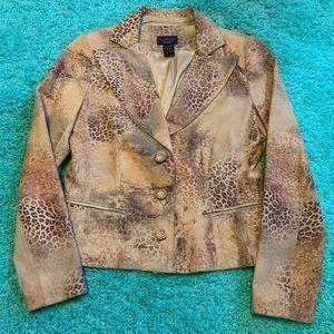 Vakko Women's Leather Leopard Animal Print Jacket
